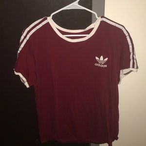 Women's Burgundy Adidas T-Shirt
